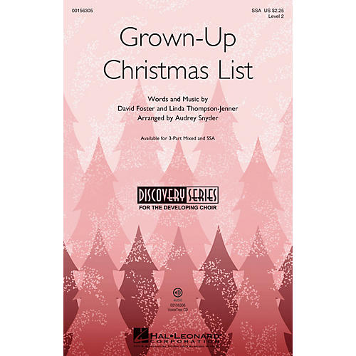 Hal Leonard Grown-Up Christmas List (Discovery Level 2) SSA arranged by Audrey Snyder