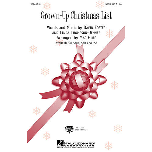 Hal Leonard Grown Up Christmas List SAB by Amy Grant Arranged by Mac Huff