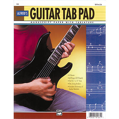 """Alfred Guitar TAB Pad (8-1/2"""" x 11"""") 64 pages (3-hole punched for ring binders)"""