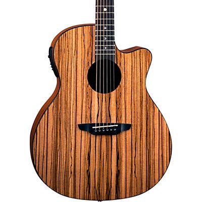 Luna Guitars Gypsy Zebra Grand Concert Acoustic-Electric Guitar