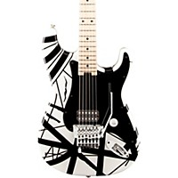 Evh Striped Series Electric Guitar White With Black Stripes