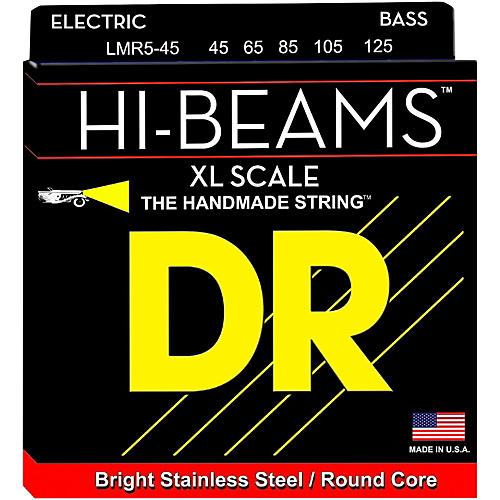 DR Strings HI-BEAM Stainless Steel 5-String Bass Strings X-Long Scale (45-65-85-105-125)