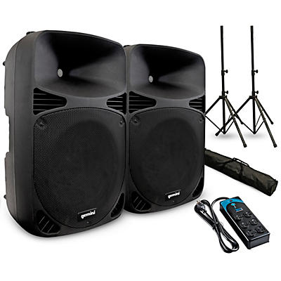 """Gemini HPS-15BLU 15"""" Powered Speaker Pair with Stands and Power Strip"""