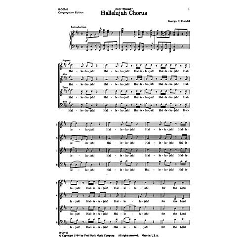 Fred Bock Music Hallelujah Chorus SATB arranged by Fred Bock