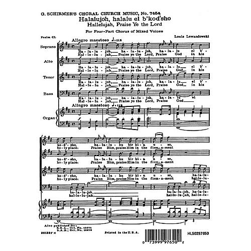 G. Schirmer Hallelujah Praise Ye the Lord (English & Hebrew) SATB composed by Louis Lewandowski