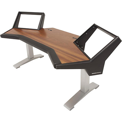 Argosy Halo Desk with Black End Panels, Mahogany Surface, and Silver Legs