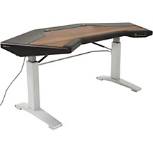 Argosy Halo G E Height Adjustable Desk with Mahogany Surface with Black End Panels, Mahogany Surface, and Silver Legs