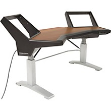 Argosy Halo Height Adjustable Desk with Mahogany Surface, Black End Panels, and Silver Legs