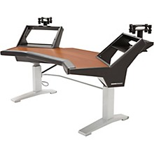Argosy Halo Height Adjustable Plus Desk with Mahogany Surface