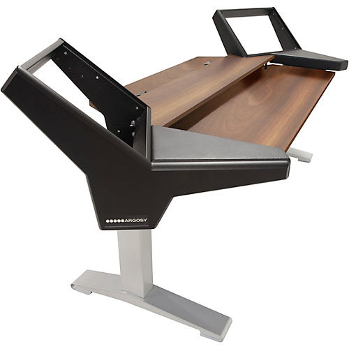Argosy Halo K88 Desk with Black End Panels, Mahogany Surface, and Silver Legs