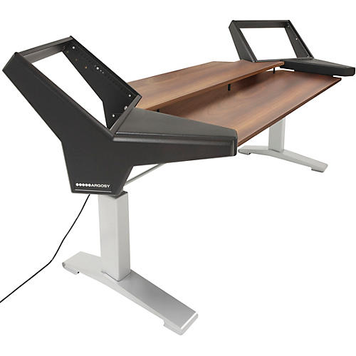 Argosy Halo K88 Height Adjustable Desk with Black End Panels, Mahogany Surface, and Silver Legs