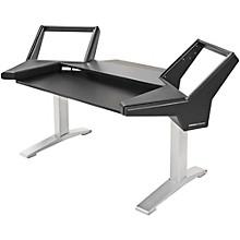 Argosy Halo Keyboard Desk w/Black End Panels and Silver Legs