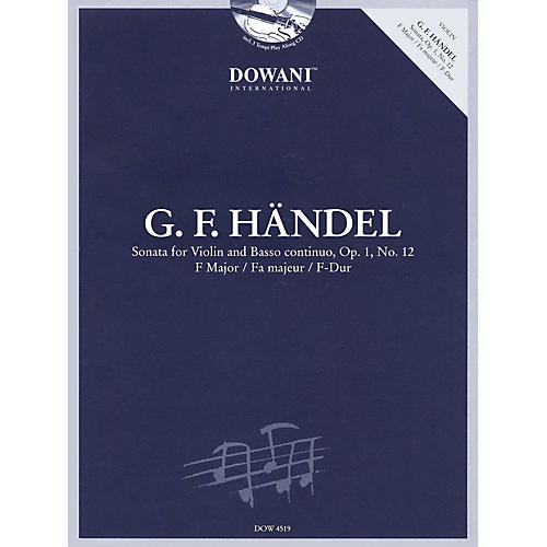 Dowani Editions Handel: Sonata for Violin & Basso Continuo in F Major Op. 1 No. 12 Dowani Book/CD Softcover with CD