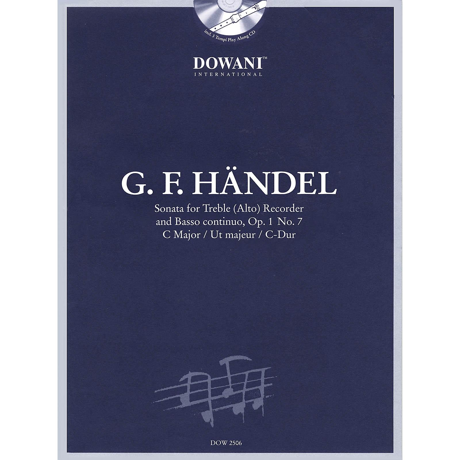 Dowani Editions Handel: Sonata in C Major, Op. 1, No. 7 for Treble (Alto) Recorder and Basso Continuo Dowani Book/CD