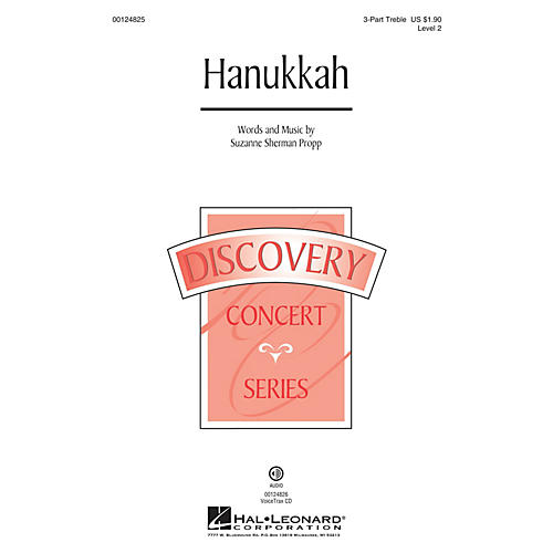 Hal Leonard Hanukkah (Discovery Level 2) 3 Part Treble composed by Suzanne Sherman Propp