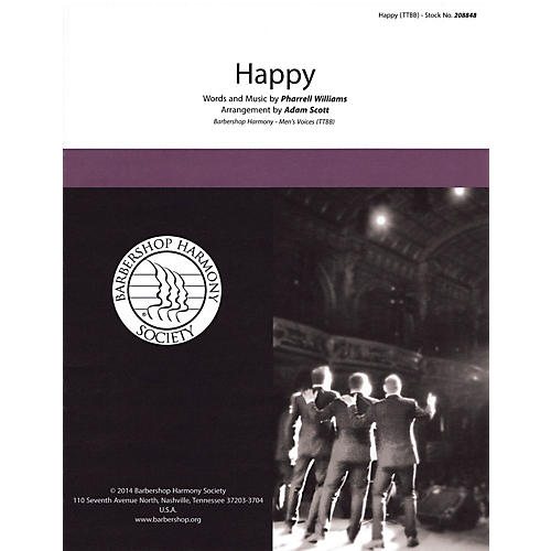 Hal Leonard Happy TTBB A Cappella by Pharrell Williams arranged by Adam Scott