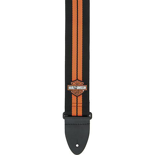 Dunlop Harley Davidson Poly Woven Guitar Strap with Orange Racing Stripe