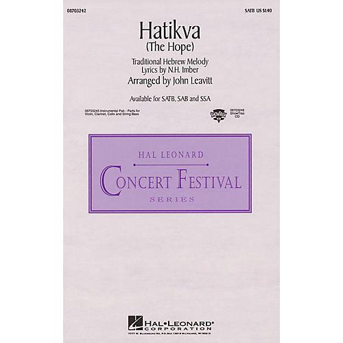 Hal Leonard Hatikva (The Hope) SAB Arranged by John Leavitt