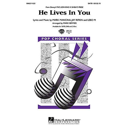 Hal Leonard He Lives in You (from The Lion King II: Simba's Pride) ShowTrax CD Arranged by Mark Brymer