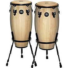 Headliner Series 11 and 12 Inch Wood Conga Set with Basket Stands Natural