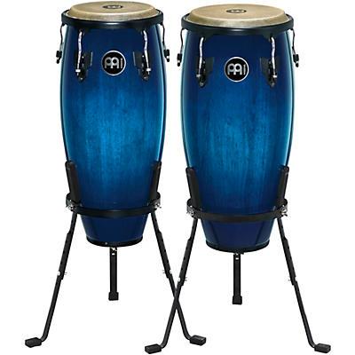 Meinl Headliner Series Wood Conga Pair with Basket Stands in Ocean Blue Burst