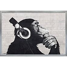 Headphones Chimp - Wall Poster Framed Silver