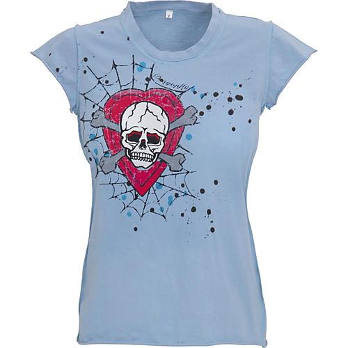 Dragonfly Clothing Company Heart and Skull Felt Applique Babydoll T-Shirt