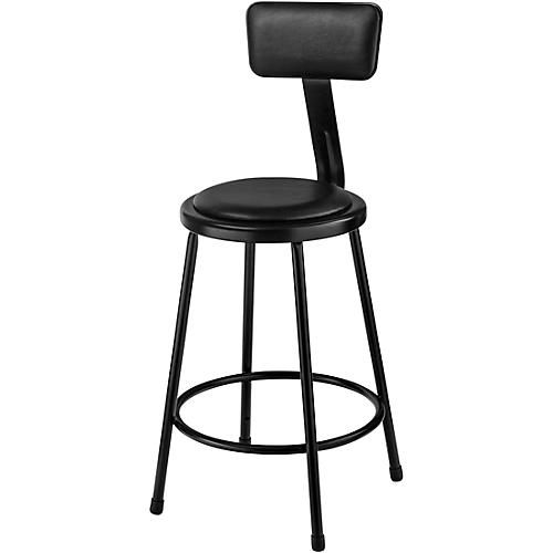 National Public Seating Heavy-Duty Vinyl Padded Steel Stool With Backrest 24