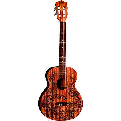 Luna Guitars Henna Dragon Mahogany Baritone Acoustic-Electric Ukulele