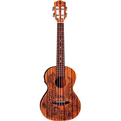 Luna Guitars Henna Dragon Mahogany Tenor Acoustic-Electric Ukulele