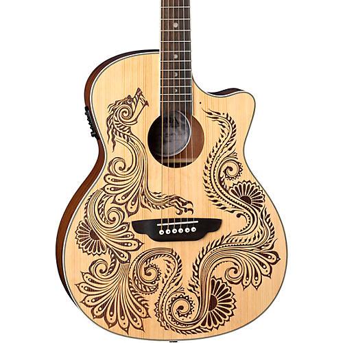 Luna Guitars Henna Dragon Select Spruce Acoustic/Electric Guitar Satin Natural