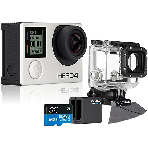 GoPro Hero4 Silver - Standard with 64GB SD Card, Dive Housing and Charger Bundle