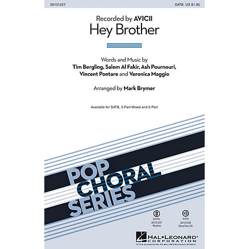 Hal Leonard Hey Brother SATB by Avicii arranged by Mark Brymer