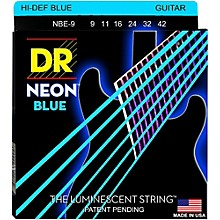 DR Strings Hi-Def NEON Blue Coated Light (9-42) Electric Guitar Strings