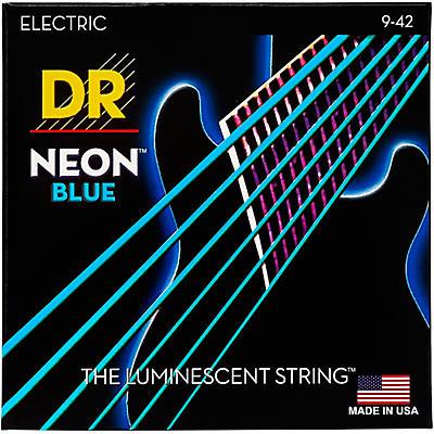 DR Strings Hi-Def NEON Blue Coated Light (9-42) Electric Guitar Strings