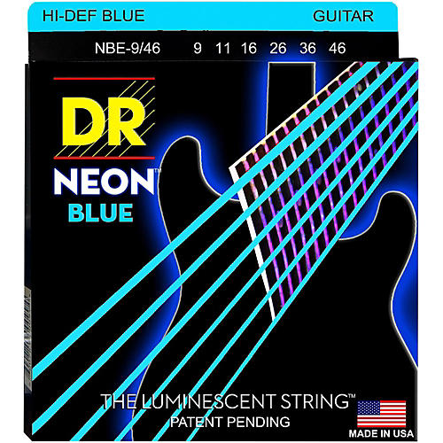 DR Strings Hi-Def NEON Blue Coated Lite-Heavy (9-46) Electric Guitar Strings