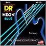 DR Strings Hi-Def NEON Blue Coated Medium 5-String (45-125) Bass Guitar Strings