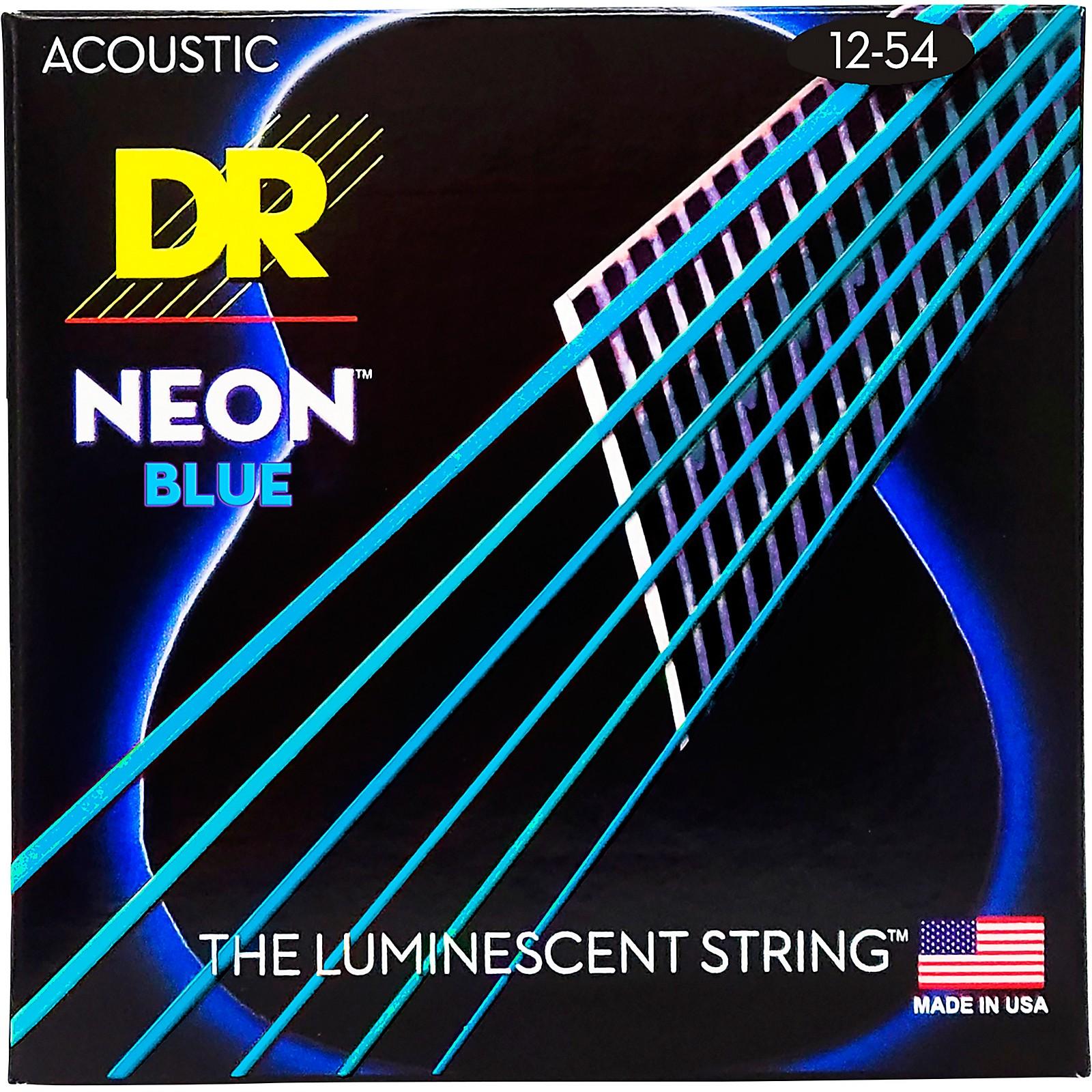 DR Strings Hi-Def NEON Blue Coated Medium Acoustic Guitar Strings (12-54)