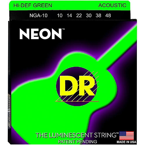 DR Strings Hi-Def NEON Green Coated Acoustic Guitar Strings Lite (10-48)
