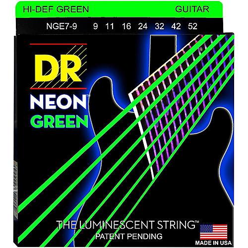 DR Strings Hi-Def NEON Green Coated Lite 7-String Electric Guitar Strings (9-52)