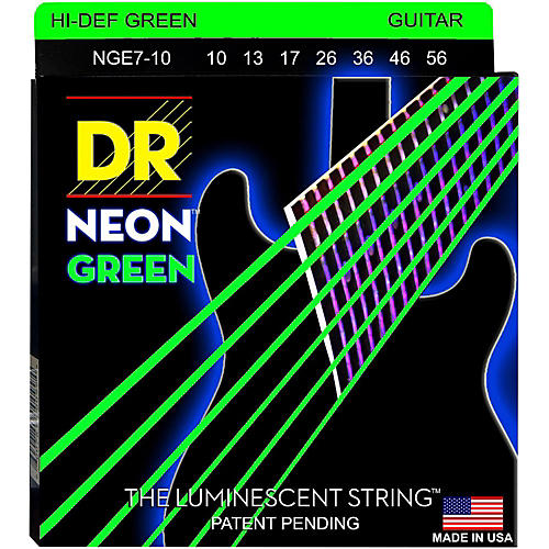 DR Strings Hi-Def NEON Green Coated Medium 7-String Electric Guitar Strings (10-56)