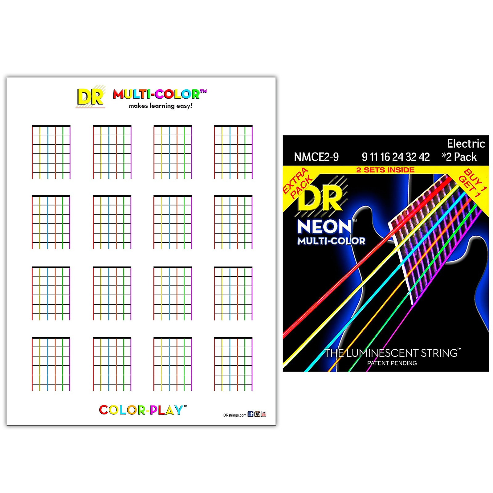 DR Strings Hi-Def NEON Light Electric String 2-Pack with Multi-Color Chord Chart Sheet