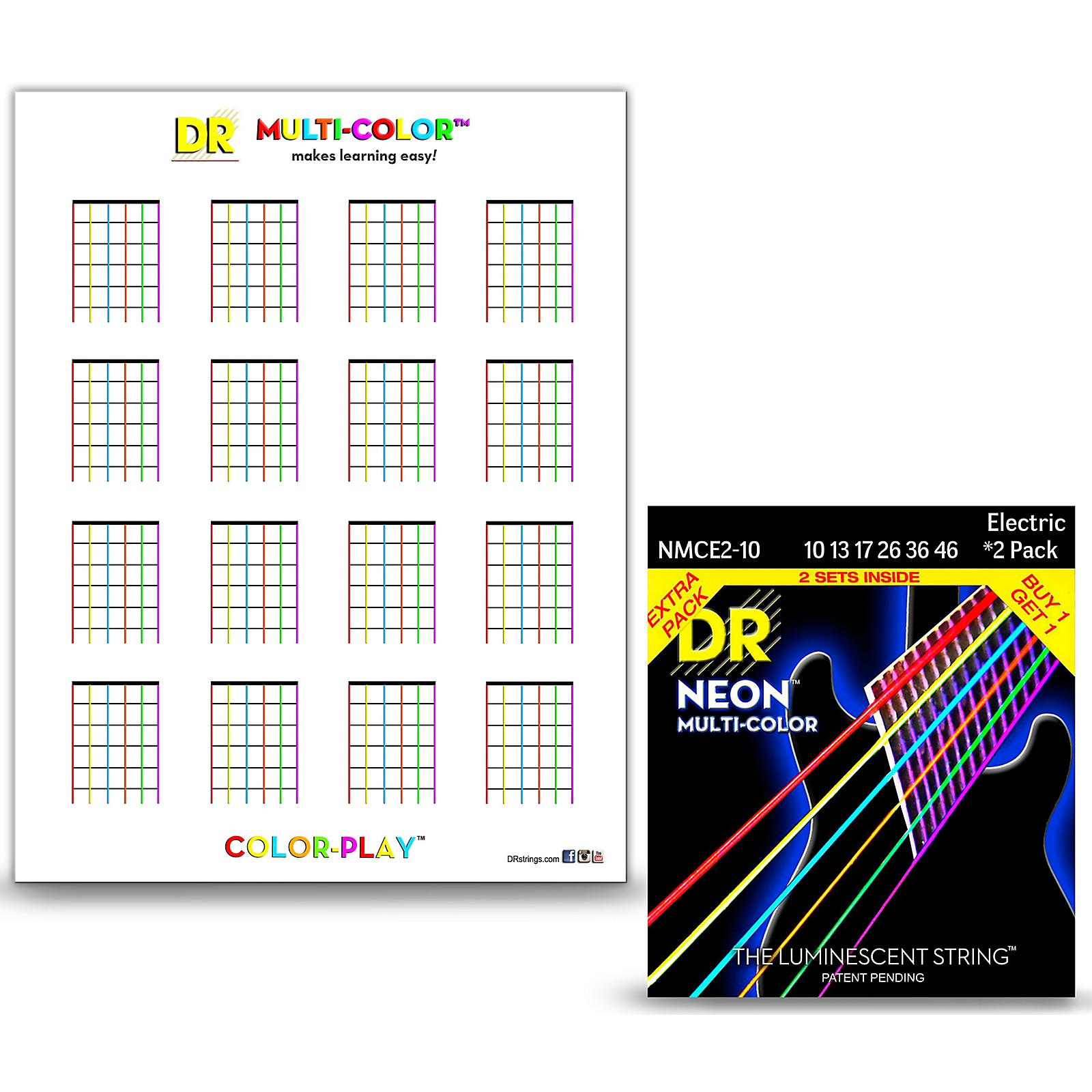 DR Strings Hi-Def NEON Medium Electric String 2-Pack with Multi-Color Chord Chart Sheet