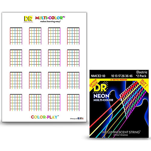 DR Strings Hi-Def NEON Medium Electric String 2-Pack with Multi ...