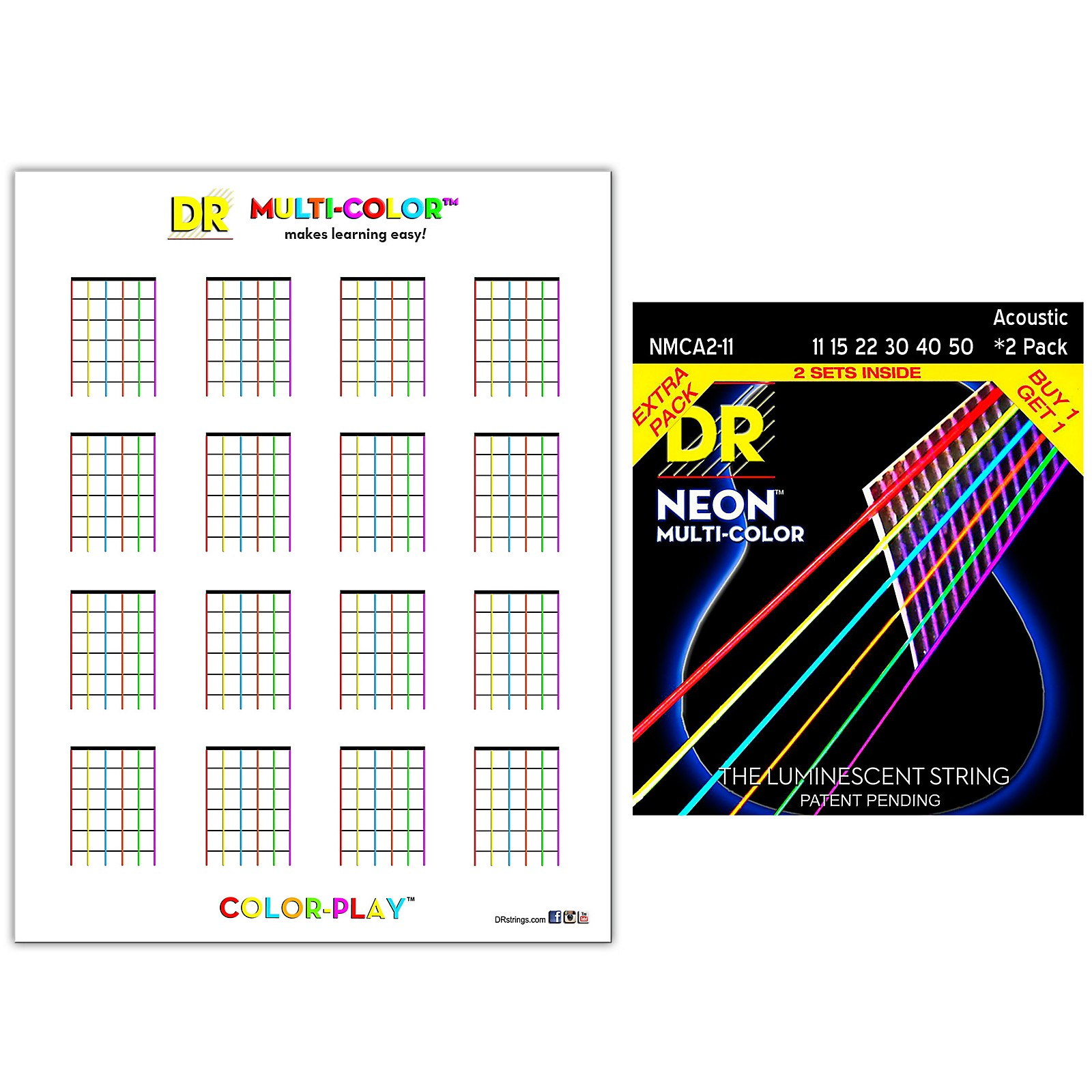 DR Strings Hi-Def NEON Medium Light Acoustic String 2-Pack with Multi-Color Chord Chart Sheet