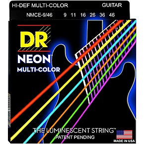 dr strings hi def neon multi color coated light n 39 heavy electric guitar strings 9 46. Black Bedroom Furniture Sets. Home Design Ideas