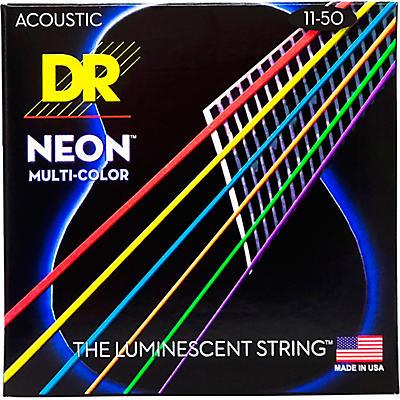 DR Strings Hi-Def NEON Multi-Color Coated Medium-Lite Acoustic Guitar Strings