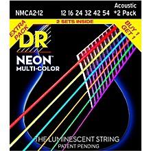 Open BoxDR Strings Hi-Def NEON Multi-Color Medium Acoustic Guitar Strings (12-54) 2 Pack