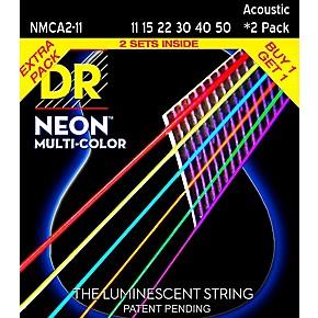 dr strings hi def neon multi color medium light acoustic guitar strings 11 50 2 pack. Black Bedroom Furniture Sets. Home Design Ideas
