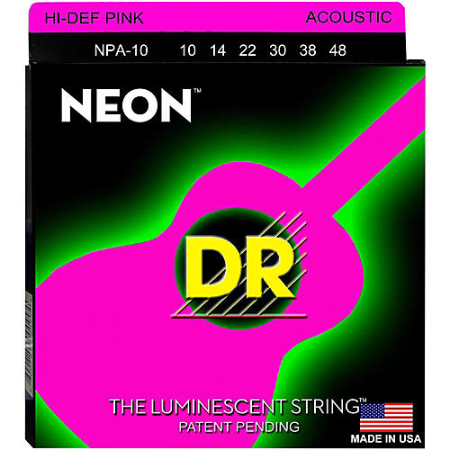 DR Strings Hi-Def NEON Pink Coated Acoustic Guitar Strings Lite (10-48)